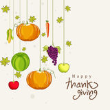 Thanksgiving day celebration with hanging veg and fruits. Thanksgiving day celebration with stylish hanging veg and fruits with text of Happy Thanksgiving Stock Images