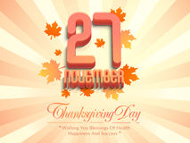 Thanksgiving Day celebration poster with date. Royalty Free Stock Photo