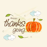 Thanksgiving Day celebration with pumpkin and stylish text. Stock Photo