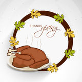 Thanksgiving Day celebration with rounded frame and cooked chick Stock Photography