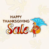 Thanksgiving day celebration with sale and disount poster. Stock Photo
