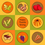 Thanksgiving Day celebration stickers, labels or tags. Royalty Free Stock Image