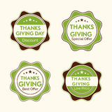 Thanksgiving day celebration with stylish stickers. Royalty Free Stock Photos