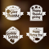 Thanksgiving Day celebration with stylish stickers. Royalty Free Stock Photo
