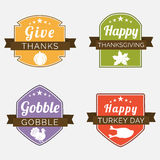 Thanksgiving day celebration with stylish stickers. Royalty Free Stock Images