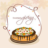 Thanksgiving day celebration with stylish text and cake. Stock Photo