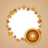Thanksgiving Day celebration with stylish text in rounded frame. Royalty Free Stock Photo