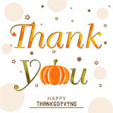 Thanksgiving Day celebration with stylish text. Stylish text of Thank You with pumpkin for Thanksgiving Day celebration on stylish background Royalty Free Stock Images