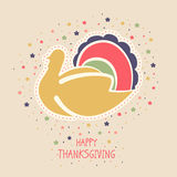Thanksgiving Day celebration with turkey bird. Happy Thanksgiving Day celebration concept with beautiful turkey bird and stylish text on decorated beige Royalty Free Stock Images