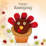 Thanksgiving Day celebration with turkey cupcake. Stock Image