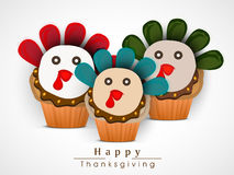 Thanksgiving Day celebration with turkey cupcakes. Thanksgiving day celebration with turkey cupcakes on light grey background Royalty Free Stock Images