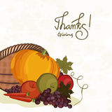 Thanksgiving day celebration with veg and fruits cornucopia. Thanksgiving day celebration with stylish text of Thanksgiving and cornucopia with veg and fruits Royalty Free Stock Photo