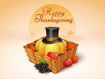 Thanksgiving Day celebration with veg, fruits and pilgrim hat in Royalty Free Stock Images