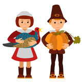 Thanksgiving day children apples and turkey vector illustration. Boy girl in traditional clothes template. Stock Photography