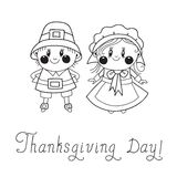 Thanksgiving Day children Pilgrim Couple Stock Photos