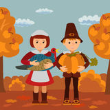 Thanksgiving day children pumpkin and turkey garden vector illustration. Boy girl in traditional clothes template. Stock Image