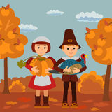 Thanksgiving day children pumpkin and turkey vector illustration. Boy girl in traditional clothes template. Royalty Free Stock Photos