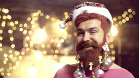 Thanksgiving day and Christmas. Santa in home. New year gift. Thanksgiving day and Christmas. Solid Santa Claus man with. Beard and mustache. New year - party stock video