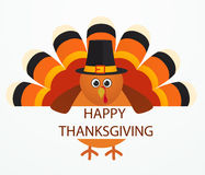 Thanksgiving Day. Colorful cartoon turkey bird. Illustration Stock Image