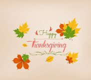 Thanksgiving Day. Colorful maples leaves and stylish text Give Thanks Royalty Free Stock Photo