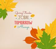 Thanksgiving Day. Colorful maples leaves and stylish text Give Thanks Royalty Free Stock Photos
