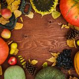 Thanksgiving day composition of vegetables, sunflower, apple and fall leaves on wooden background. Flat lay royalty free stock photo