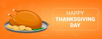Thanksgiving day concept banner, cartoon style stock illustration
