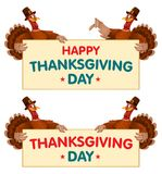 Thanksgiving day congratulations banners with turkeys. Cartoon styled vector illustration. Elements is grouped and divided into layers. No transparent objects Royalty Free Stock Photo