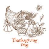 Thanksgiving Day cornucopia greeting sketch Stock Photos