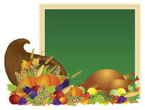 Thanksgiving Day Cornucopia and Turkey Chalkboard Illustration. Thanksgiving Day Fall Harvest Cornucopia with Turkey Dinner Feast Pumpkins Fruits and Vegetables Royalty Free Stock Images