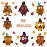 Thanksgiving Day cute owl set Vector Illustration