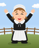 Thanksgiving Day - Cute Pilgrim Woman Royalty Free Stock Images