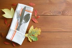 Thanksgiving Day. Cutlery on a napkin. stock photography
