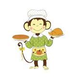 Thanksgiving day De holding Turkije van de aapdame en pompoenpastei Royalty-vrije Stock Foto's