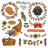 Thanksgiving day decor.Colorful Doodle set Royalty Free Stock Image