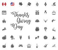 Thanksgiving Day Design Elements Badges and Labels in Vintage Style vector illustration