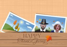 Thanksgiving Day design. Happy Thanksgiving. Template for Thanksgiving greeting cards design. Envelope with family photos. Married couple in the fancy dress of Stock Images