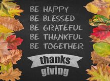 Thanksgiving day design quote postcard banner with autumn leaves Stock Photography