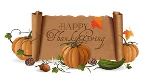 Thanksgiving Day design. Thanksgiving design with pumpkin, zucchini, acorn and unfolded vintage scroll with a greeting inscription. Vector illustration isolated Stock Images