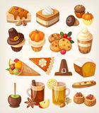 Thanksgiving day desserts royalty free illustration