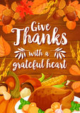 Thanksgiving Day dinner banner on wood background Stock Photography
