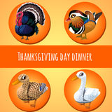 Thanksgiving day dinner, four icons Royalty Free Stock Photos