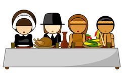 Thanksgiving day dinner Illustration. On white background Royalty Free Stock Image