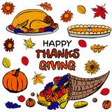 Thanksgiving day dinner set Royalty Free Stock Photos