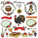 Thanksgiving day.Doodle collection.Colorful set Royalty Free Stock Photos