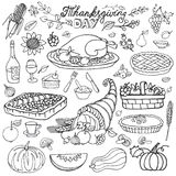 Thanksgiving day.Doodle food icons.Linearset Royalty Free Stock Photography