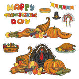 Thanksgiving day.Doodle harvest,holiday set Stock Images