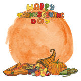 Thanksgiving day.Doodle harvest,watercolor splash Royalty Free Stock Photos