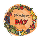 Thanksgiving day.Doodle harvest wreath,watercolor Royalty Free Stock Photography