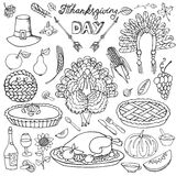Thanksgiving day.Doodle icons.Linear set Royalty Free Stock Photos